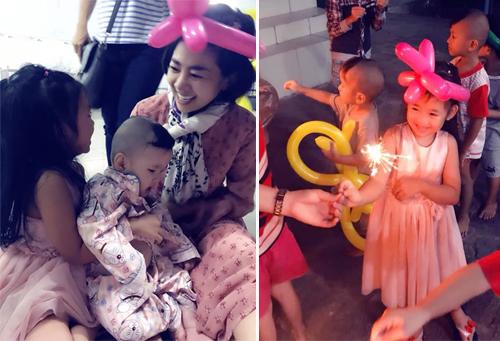 Mai Phương và con gái vui cùng các bé trong chuyến thiện nguyện.
