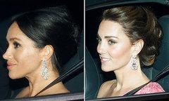 Kate và Meghan đeo bông tai kim cương dự sinh nhật bố chồng