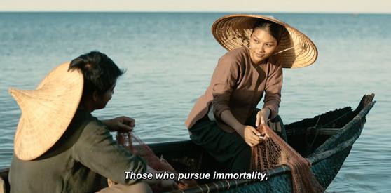 Hùng (Quách Ngọc Ngoan) và Duyên (Thanh Tú) trong một cảnh quay trên biển