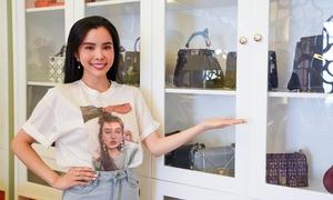 Tủ chứa giày và túi hiệu của Hoa hậu Huỳnh Vy