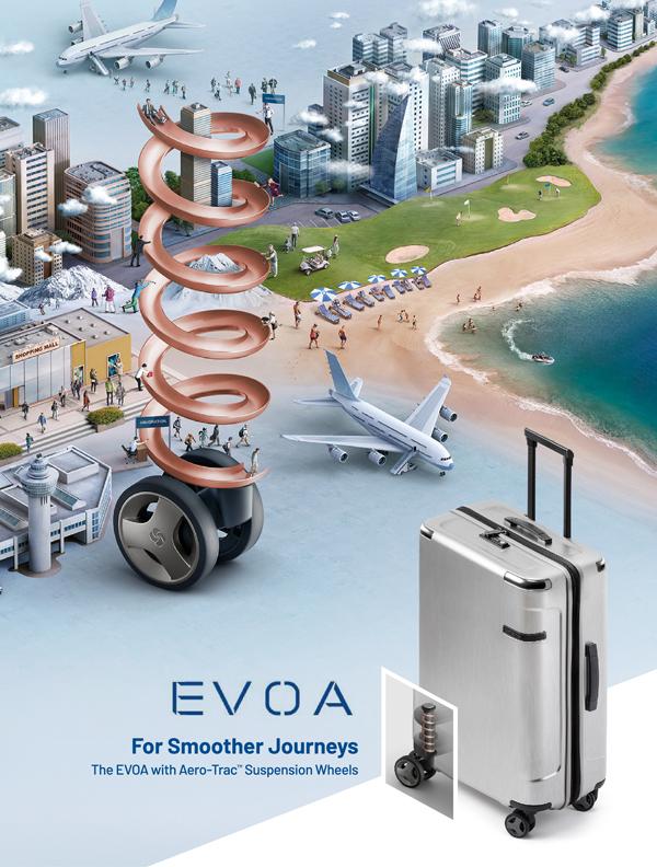 EVOA là BST mang tính cách mạng và đột phá của Samsonite. Dòng vali được trang bị hệ thống bánh xe Aero-Trac sáng tạo, giúp giảm độ rung và tiếng ồn lăn. Evoa tích hợp dây kéo đôi chống trộm, giúp bảo vệ tối đa hành lý. Bốn góc của vali là những miếng kim loại tạo điểm nhấn sang trọng, đồng thời giúp chống trầy và va đập. Vali cũng sở hữu những tính năng tiện lợi như khả năng mở rộng và tổ chức nội thất phong phú.