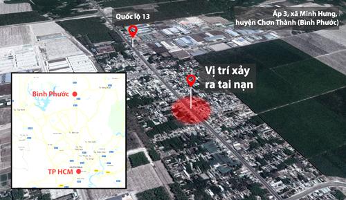 Vị trí xảy ra tai nạn trên Quốc lộ 13, đoạn ấp 3, xã Minh Hưng, huyện Chơn Thành (Bình Phước).