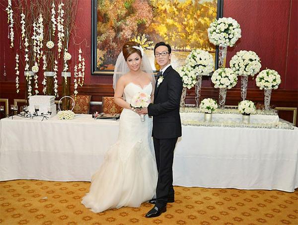Minh Tuyết và ông xã Diệp Keith tại đám cưới hồi 2013.
