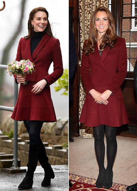 Bộ đồ Paule Ka được Kate từng mặc vào tháng 2/2017 khi thăm Caerphilly ở xứ Wales (trái) và tháng 10/2012 khi gặp gỡ các nhân vật nhận học bổng của hoàng gia (phải).