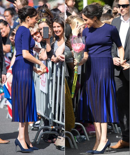 Chiếc váy len mỏng làm lộ vòng ba và nội y của Meghan khi cô tới New Zealand cuối tháng 10. Ảnh: Express.