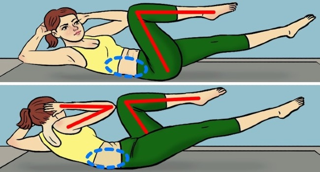 Nằm ngửa trên thảm, hai tay để sau gáy, nâng cao đầu, hai chân duỗi thẳng cách mặt thảm 30 cm. Rút gối lần lượt từng bên đồng thời vặn nghiêng vai. Lặp lại động tác 20 lần.