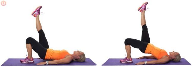 Nằm ngửa trên thảm, hai tay duỗi thẳng, một chân gập gối, một chân duỗi thẳng lên trời. Lấy tay làm lực, nâng cao hông. Giữ trong 10 giây rồi trở về tư thế ban đầu. Lặp lại động tác 20 lần mỗi chân.