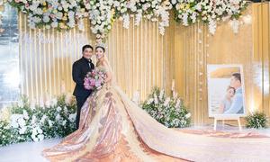 Tiệc cưới ở An Giang của Hoa hậu Đại dương mang tông vàng đồng