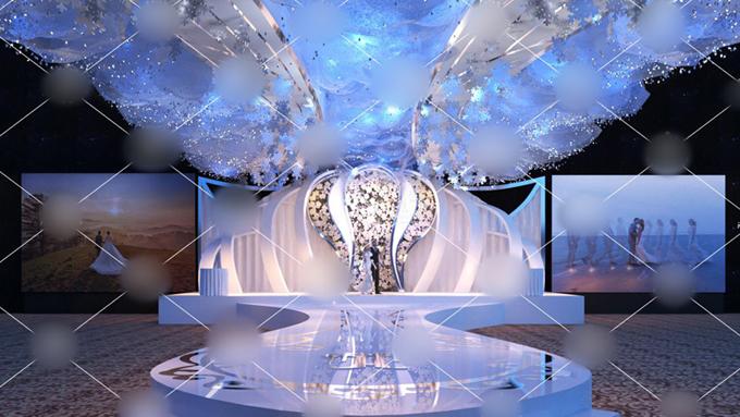Theo bản vẽ 3D, sân khấu tiệc cưới mang đến vẻ huyền ảo.