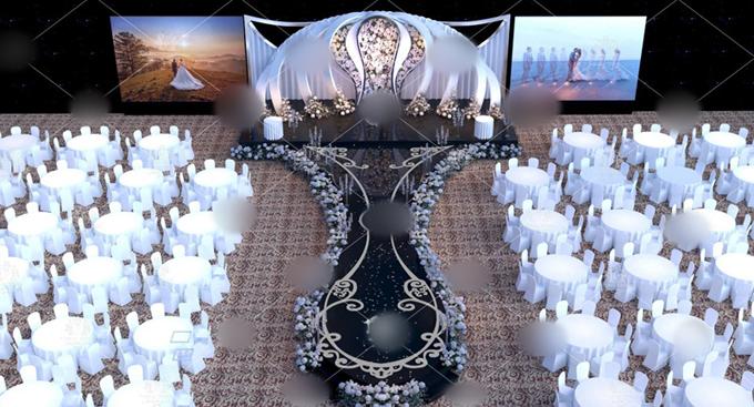 Phối cảnh 3D tại sảnh tiệc cưới.