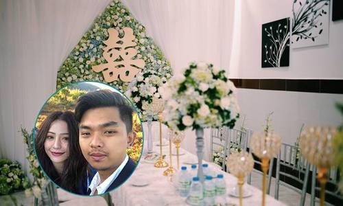 Ca sĩ MiA chọn tông xanh dương và trắng cho lễ ăn hỏi