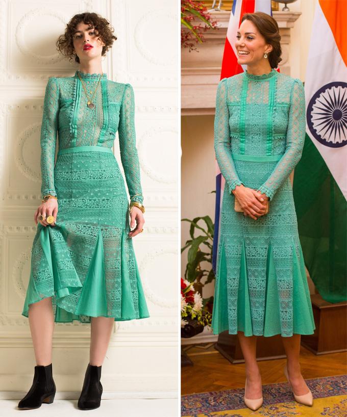 Khác với em dâu Meghan, Kate được nhận xét là người khiêm nhường, không thích phô trương hay trở thành tâm điểm chú ý. Phong cách thời trang của cô cũng hướng tới sự đơn giản, thanh lịch. Bởi vậy, bà mẹ ba con đã không ít lần chỉnh sửa trang phục để trở nên kín đáo hơn so với thiết kế gốc, phù hợp cương vị một nàng dâu hoàng gia.Trong chuyến công du tới Ấn Độ và Bhutan hồi tháng 4/2016, Nữ công tước xứ Cambridge xuất hiện duyên dáng trong bộ đầm ren xanh dài ngang bắp chân. Sản phẩm nguyên bản của Temperley London khá sexy với phần vải mỏng khoe vòng một, nửa thân trên và đùi. Tuy nhiên, Kate đã nhờ hãng may riêng một phiên bản nền nã hơn hẳn.