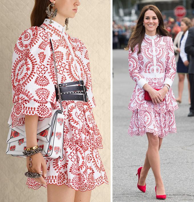 Vợ Hoàng tử William trông tươi trẻ khi diện váy Alexander McQueen xếp tầng tại Canada, tháng 9/2016. Đây vốn là một thiết kế thuộc bộ sưu tập Resort 2017, có chiều dài chỉ qua vòng ba một chút, và phần tay phồng cũng phóng khoáng hơn.
