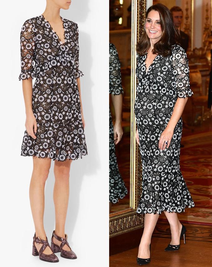 Tháng 2 vừa qua, Kate cầm trịch một sự kiện của Khối Thịnh vượng chung ở Điện Buckingham dù đang mang bầu tháng thứ 6. Cô ghi điểm cùng mẫu đầm midi ren hoa của Erdem, kết hợp giày Prada ăn ý. Trang phục gốc dài chưa tới gối và sử dụng lớp lót mỏng hơn.