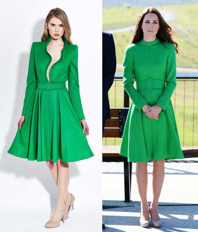 Năm 2014, trong chuyến công du Australia và New Zealand, Kate đặt may riêng bộ đầm Catherine Walker với chi tiết khóa kéo cao, trong khi thiết kế gốc xẻ cổ tới tận eo.