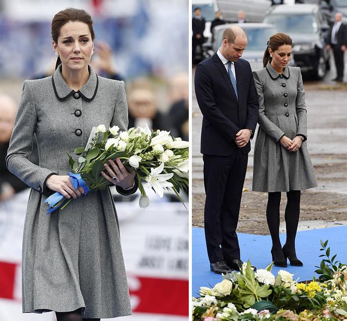 Vợ chồng William - Kate đặt hoa tưởng niệm nạn nhân vụ rơi máy bay trực thăng của tỷ phú Vichai hồi tháng 10. Ảnh: Max Mumby.
