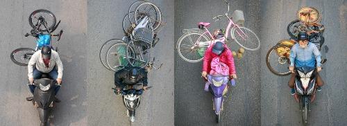Xe máy vận chuyển xe đạp (Hà Nội, 11-12/2018)