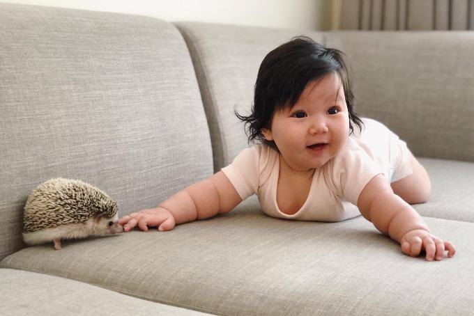 Bé Myla - con gái Hà Anh - thích thú bên người bạn mới.