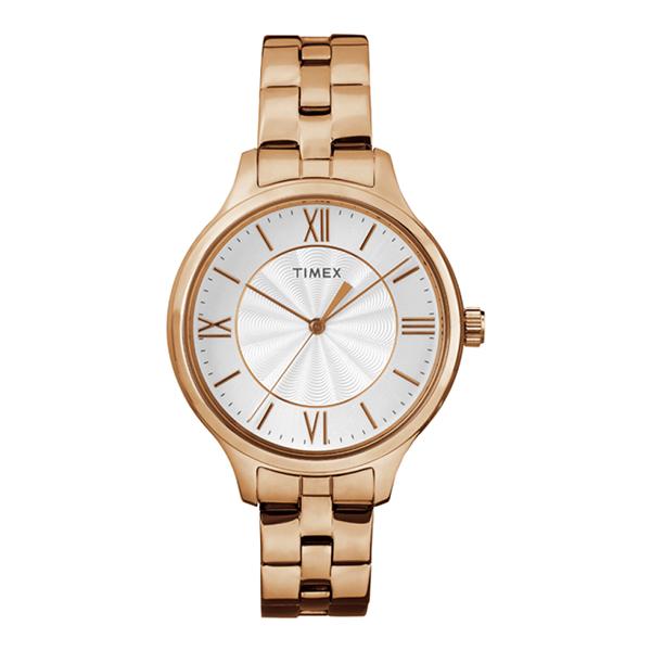 Đồng hồTimex nổi bậtvới tính năng đèn nền Indiglo cùngthiết kế đơn giản, thanh lịch phù hợp với những người chuộng phong cách tối giản. Phái nữ có thể tham khảo đồng hồ Timex Peyton 36mm - TW2R28000 màu hồng nhạt giá 1,34 triệu đồng (giá gốc 2,68 triệu đồng) trên Shop VnExpress.