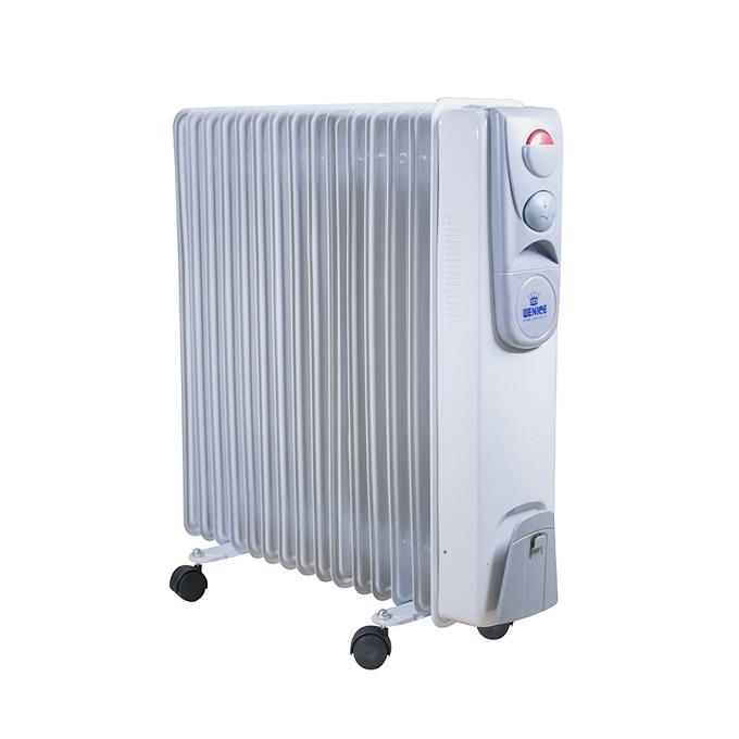 Máy sưởi dầu Wenice WN-2500(NSD) 15 thanh. Đây là dòng sản phẩm có khả năng sưởi ấm mạnh với công suất 2.500W phù hợp những phòng có diện tích lớn 25 - 30m2. Thiết kế này ra đời khắc phục những nhược điểm của các dòng sản phẩm thế hệ trước, như khả năng chịu nhiệt cao giúp chống nóng tốt, tự tắt nguồn điện khi máy quá nhiệt, hệ thống điều khiển cảm ứng tự động, thiết kế đẹp, hiện đại.