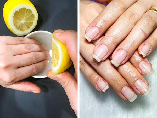 Chanh chứa hàm lượng cao vitamin C, giúp làm trắng và làm móng chắc khỏe hơn. Lấy nước cốt 1/2 quả chanh hòa vào cốc nước ấm, ngâm móng tay vào trong cốc nước trong vài phút rồi lau sạch.