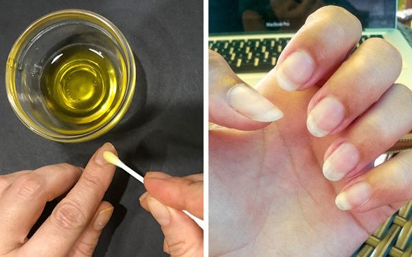 Dầu ô liu giúp dưỡng ẩm và nuôi dưỡng móng rất tốt. Hàm lượng vitamin E cao trong dầu ô liu giúp sửa chữa những khuyết điểm trên móng và kích thích sinh trưởng. Nên làm ấm dầu ô liu, thoa lên móng, massage nhẹ nhàng từ 5 - 10 phút.