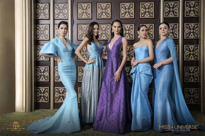 Các thí sinh quyến rũ trong trang phục mang phong cách truyền thống Thái Lan.