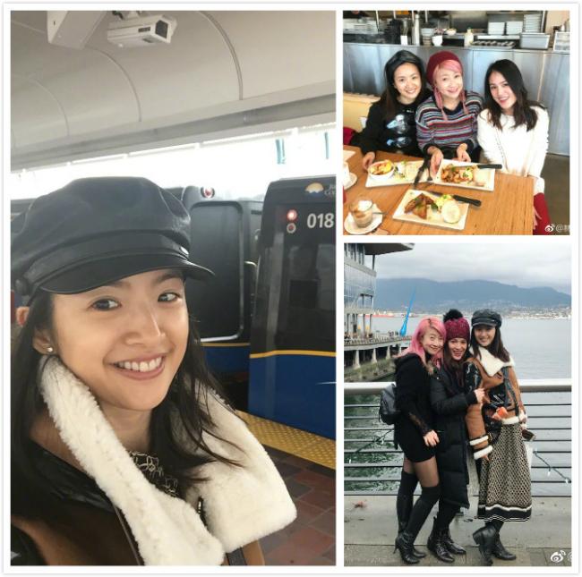 Lâm Y Thần trong chuyến du lịch Vancouver mới đây với bạn bè.