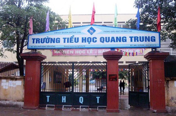 Cổng trường Tiểu học Quang Trung, quận Đống Đa, Hà Nội.