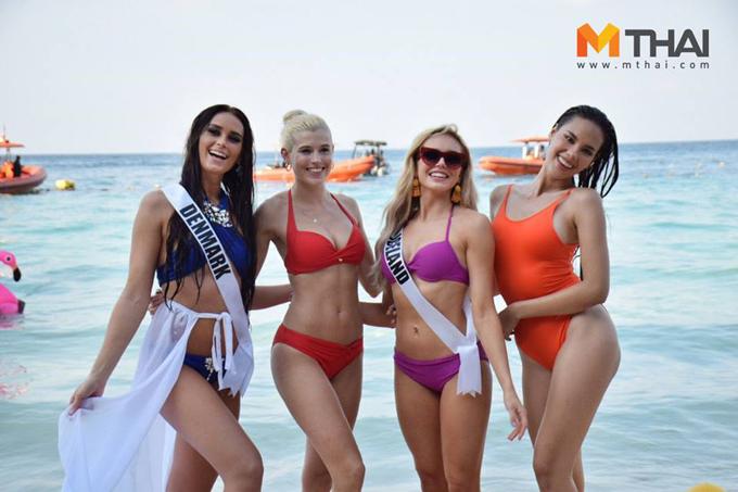 Các người đẹp Hoa hậu Hoàn vũ 2018 có buổi chụp hình đầu tiên với áo tắm trên bãi biển Koh Larn ở Pattaya.