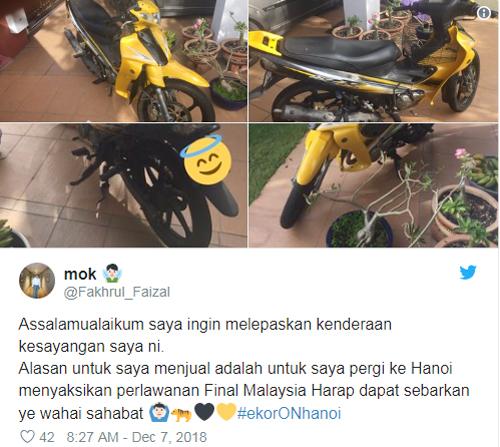 CĐV rao bán cả xe máy để lấy tiền tới Hà Nội tuần tới. Ảnh: Twitter.