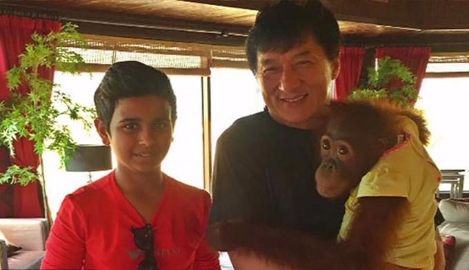 Although the family have several properties this is the main residence of the famous YouTuber and social media star also known as Money Kicks. Pictured, Rashed Saif Belhasa, left, with Jackie Chan and one of the teens pet orangutans