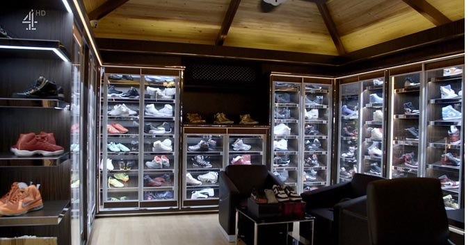 Money Kicks is the proud owner of a vast shoe collection boasting limited edition Yeezys, Bapes and Air Jordans, all stored in bespoke cases and reported to be worth an estimated $1million (£785,000).