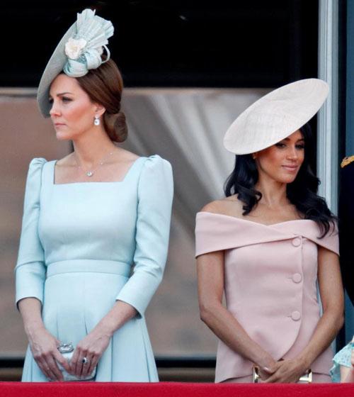 Hai nàng dâu hoàng gia trong sự kiện mừng sinh nhật tuổi 92 của Nữ hoàng Anh hồi tháng 6. Ảnh: PA.