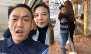 Đàm Thu Trang ôm chặt bạn trai Cường Đôla để sưởi ấm