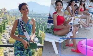 H'Hen Niê mang dép tổ ong đi thi Miss Universe