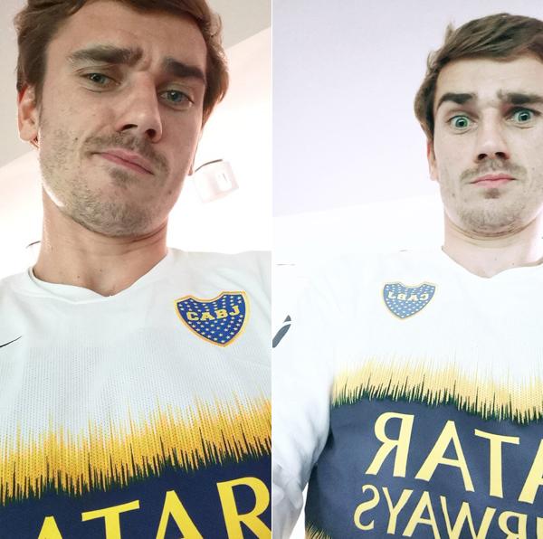 Trước trận đấu, Griezmann đăng ảnh mặc áo Boca Juniors thể hiện tình yêu với đội bóng Argentina.