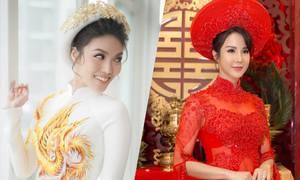 Sao Việt chuộng áo dài cưới sắc trắng, đỏ trong năm 2018
