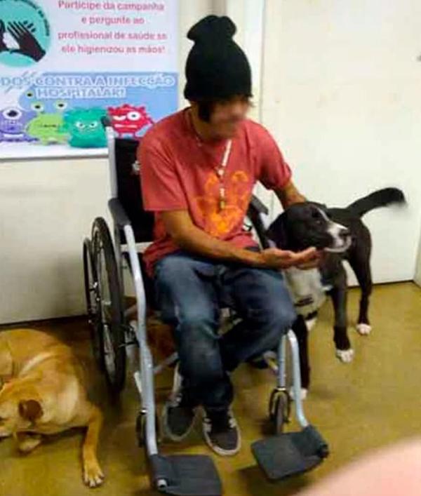 Cesar và những con chó của mình trong bệnh viện Alto Vale, Brazil hôm 10/12. Ảnh: Facebook.