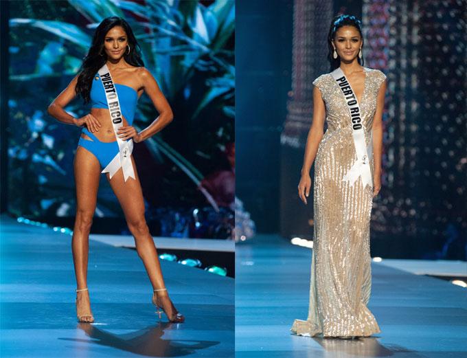 Hoa hậu Puerto Rico, Kiara Ortega thu hút sự chú ý với sự thanh lịch và đĩnh đạc. Nụ cười duyên dáng cùng những bước catwalk chuyên nghiệp trên sân khấu bán kết đã giúp Kiara ghi điểm. Các mỹ nhân của quốc đảo Puerto Rico luôn có duyên với Miss Universe nên sẽ không ngạc nhiên nếu Kiara mang về vương miện thứ 6 cho quê hương mình.