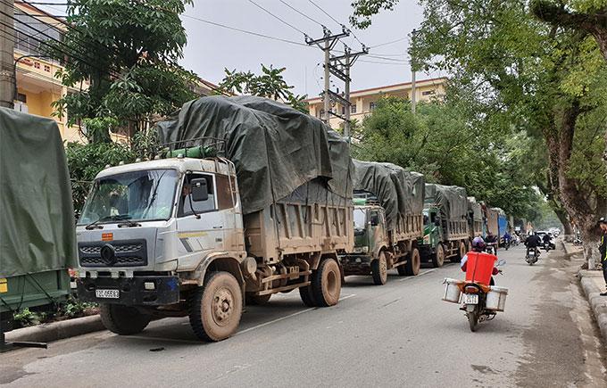 Gần 10 xe tải bị cảnh sát thu giữ. Ảnh: Cơ quan điều tra cung cấp