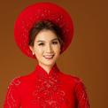 Kha Ly duyên dáng cùng áo dài cưới mùa xuân