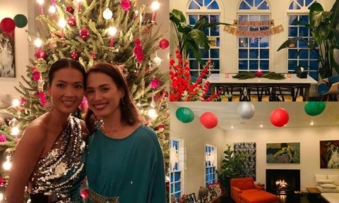 Vợ chồng Bằng Lăng tự trang trí biệt thự đón Giáng sinh