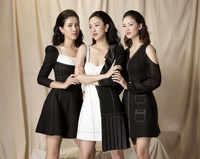 Vốn hoạt động thời trang lâu năm, Hà Thu có nhiều kinh nghiệm lựa chọn trang phục và hướng dẫn hai em gái chụp ảnh. Cô chọn kiểu váy chữ A có những chi tiết bất đối xứng, cắt xẻ hay tạo kiểu tay phồng làm điểm nhấn.