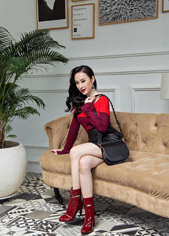 Không chỉ ưu ái sắc đỏ khi xuất hiện trước công chúng, Angela Phương Trinh còn bồ kết tông màu này cho dòng thời trang ứng dụng thường ngày.