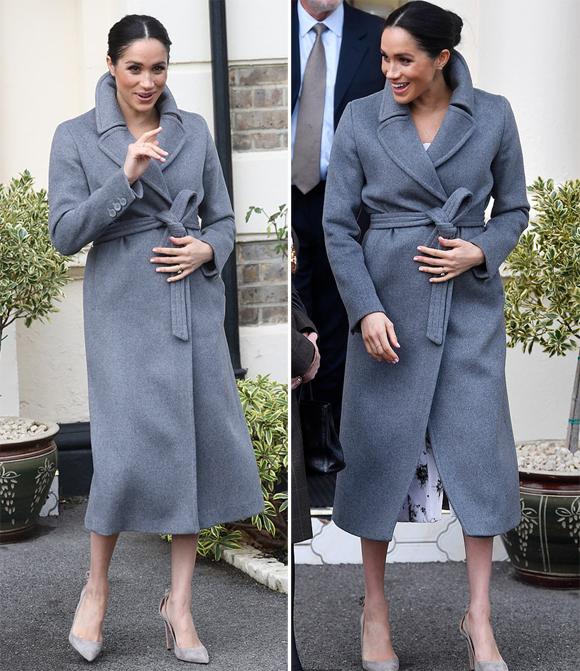 Tới khi ra về, trời chuyển lạnh hơn khiến Nữ công tước xứ Sussex phải choàng áo khoác che kín bụng bầu.