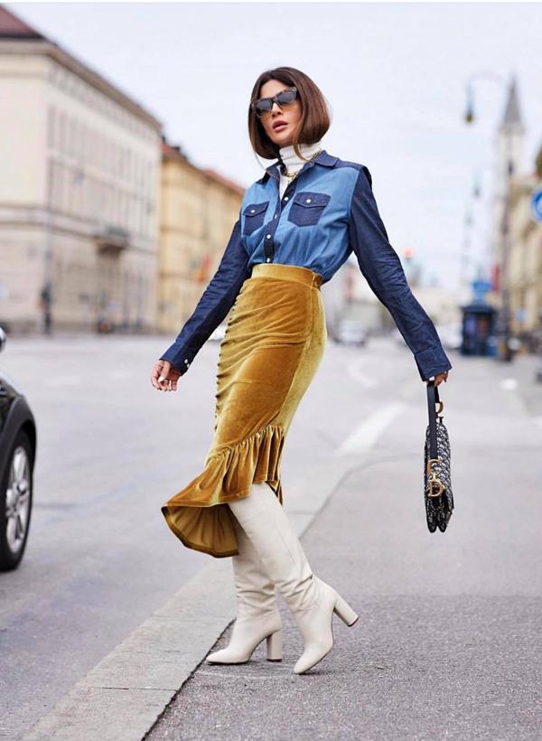 Những kiểu chân váy thịnh hành ở mùa hè cũng được làm mới bằng các chất liệu mới để mang tới sự hài hòa cùng tiết trời.