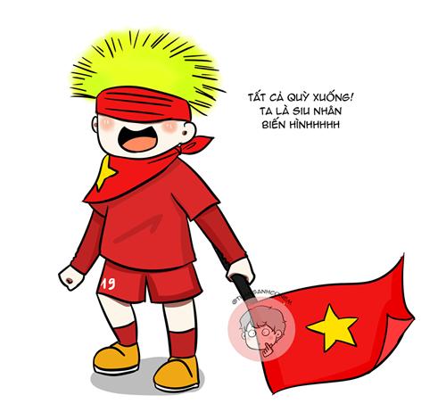 Quang Hải thể hiện niềm vui chiến thắng với mặt nạ hóa trang độc đáo được các CĐV tặng. Mái tóc vàng dựng ngược của Quang Hải giống như Siêu Saiyan trong bộ truyện tranh Bảy viên ngọc rồng nổi tiếng.