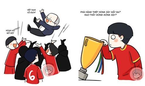 Fan vẽ tranh chibi tái hiện khoảnh khắc tuyển Việt Nam vô địch AFF Cup