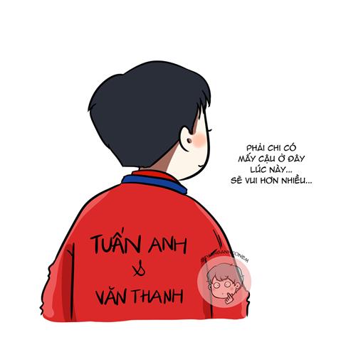 Trong ngày vui vô địch, Xuân Trường đã viết tên Tuấn Anh, Văn Thanh lên chiếc áo dành cho nhà tân vô địchAFF Cup.Hình động này khiến nhiều người xúc động về tình đồng đội gắn bó giữa các cầu thủ tuyển Việt Nam.